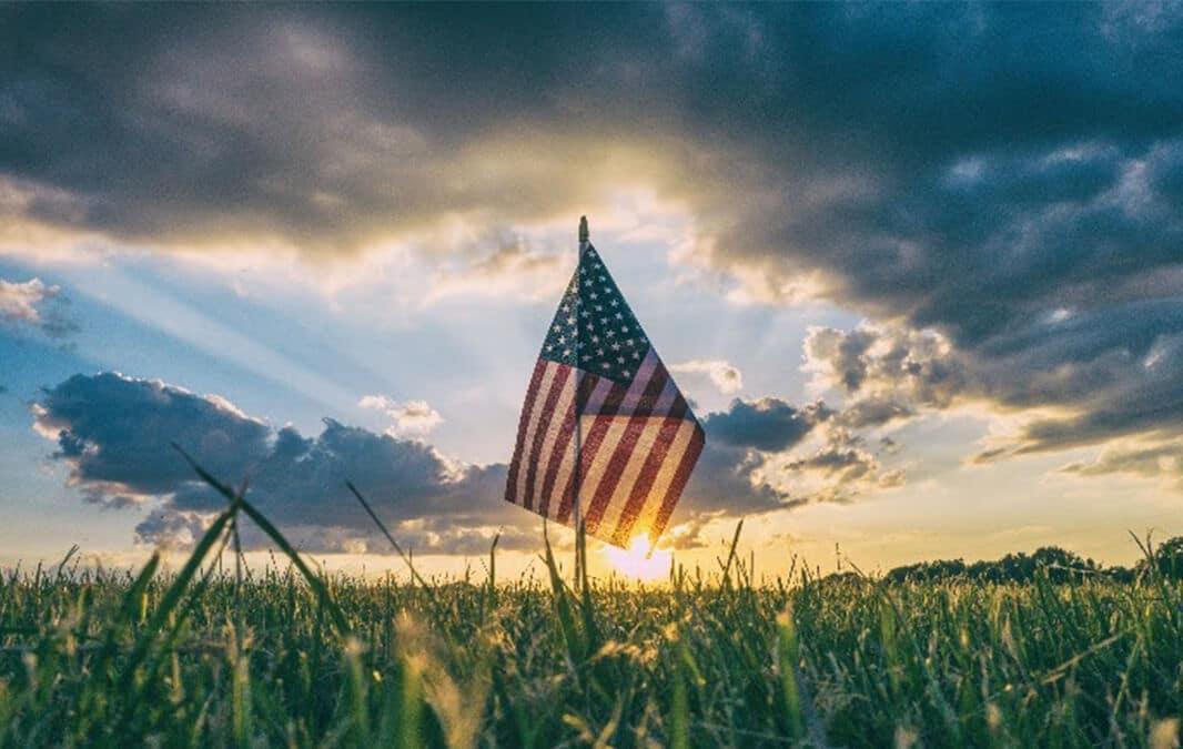 American flag on a field